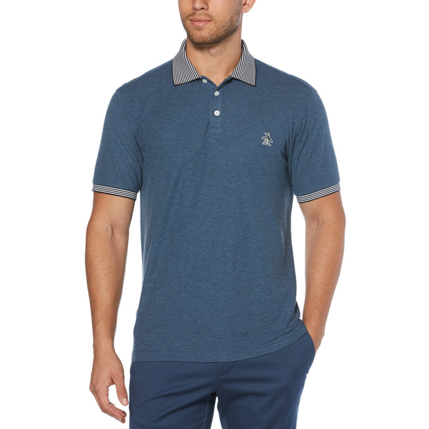 STRIPE COLLAR POLO SHIRT IN SARGASSO SEA
