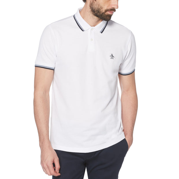 STICKER PETE PIQUE POLO SHIRT IN BRIGHT WHITE