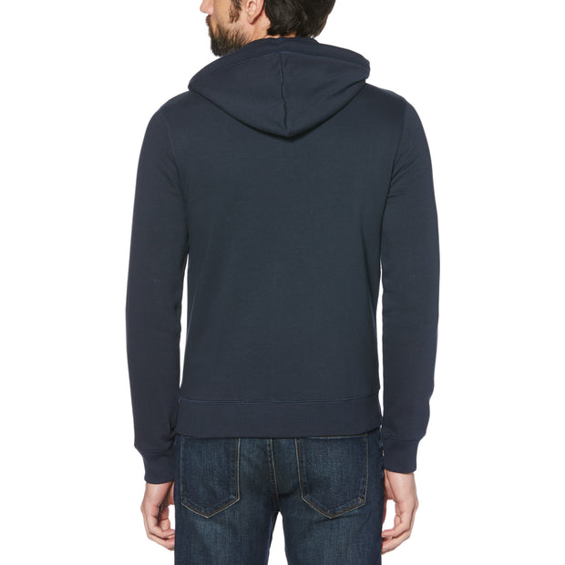 Sticker Pete Fleece Full Zip Hoodie In Dark Sapphire