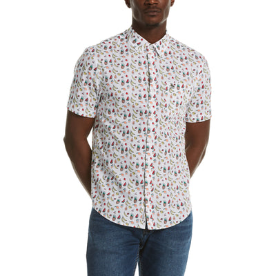 Fruit Print Poplin Shirt In Bright White