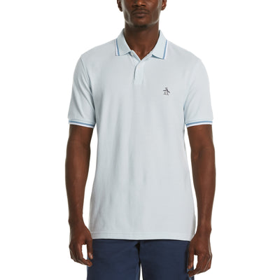 Sticker Pete Pique Polo Shirt In Ballad Blue