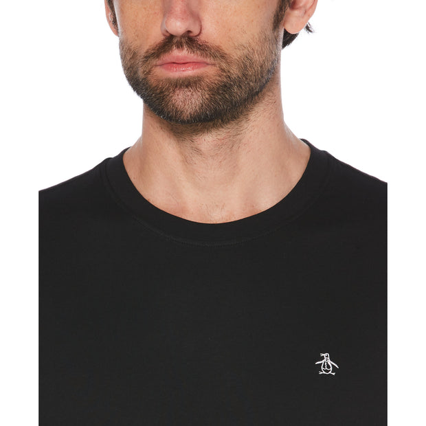 PIN POINT LONG SLEEVE T-SHIRT IN TRUE BLACK