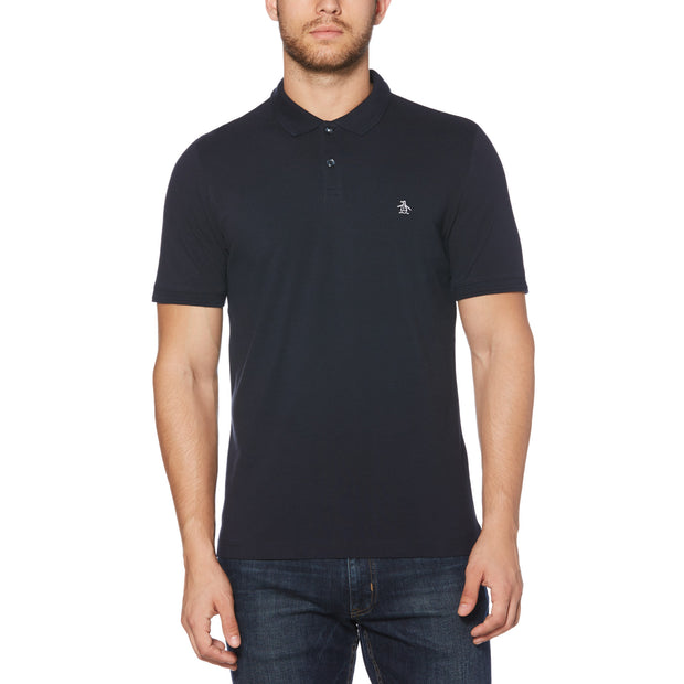 RAISED RIB POLO SHIRT IN DARK SAPPHIRE