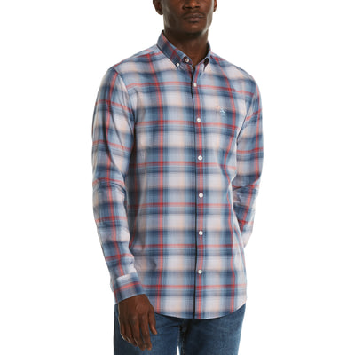 Ombre Plaid Shirt In Cool Blue
