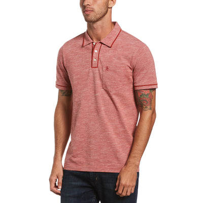 Birdseye Pique Earl Polo Shirt In Red Ochre