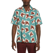 Short Sleeve Horse Print Shirt In Oil Blue