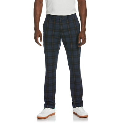 Windowpane Plaid Trousers In True Black