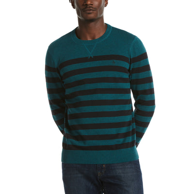 Cotton Stripe Crew Neck Sweater In Storm