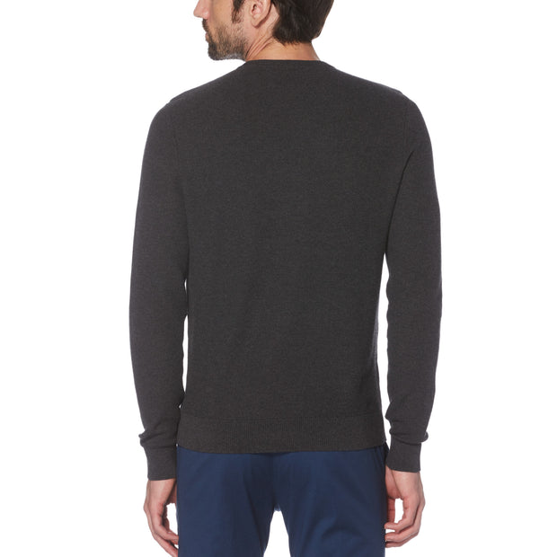 Tuck Stitch Crew Neck Sweater In Dark Charcoal Heather