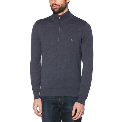SUPIMA COTTON QUARTER ZIP SWEATER IN DARK SAPPHIRE