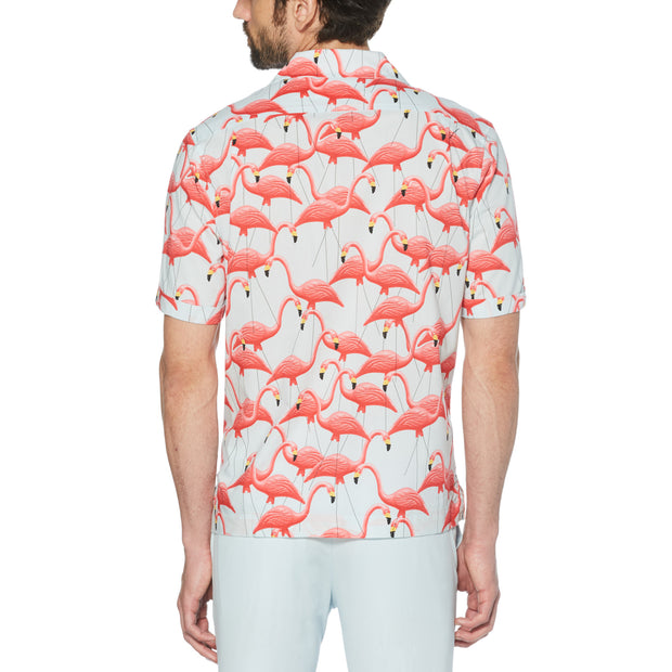 FLAMINGO PRINT SHIRT IN BALLAD BLUE