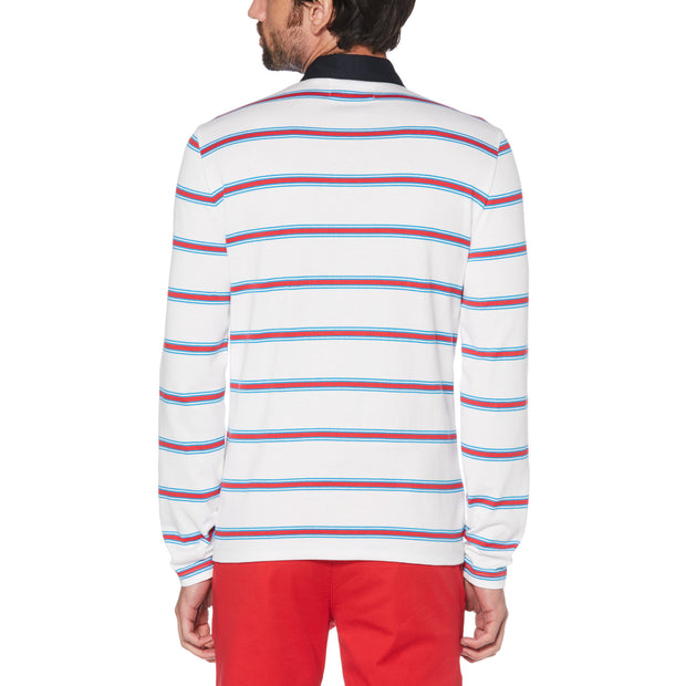COTTON STRIPE RUGBY SWEATER IN BRIGHT WHITE