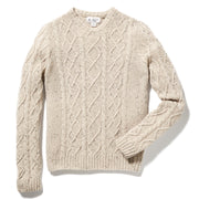 WOOL ALPACA FISHERMAN CREW NECK SWEATER IN OATMEAL