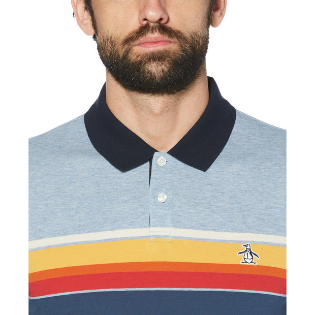 ENGINEERED STRIPE POLO SHIRT IN FADED DENIM