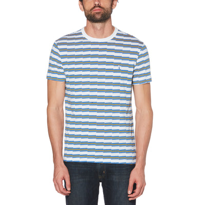 ZIG ZAG STRIPE T-SHIRT IN BRIGHT WHITE