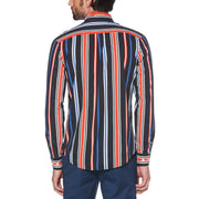 VERTICAL STRIPE MULTI COLOUR SHIRT IN DARK SAPPHIRE