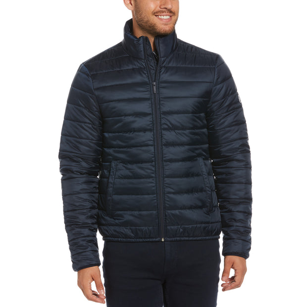 Water Resistant Hooded Puffer Jacket In Dark Sapphire
