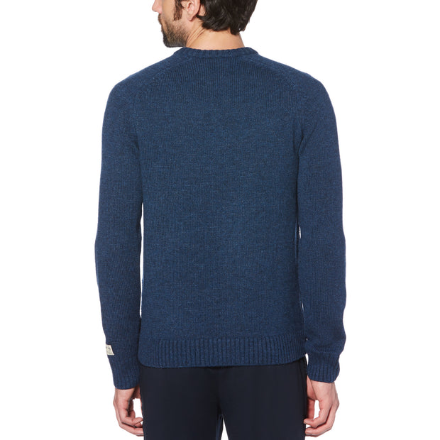 DONEGAL WOOL FISHERMAN CREWNECK SWEATER IN SARGASSO SEA