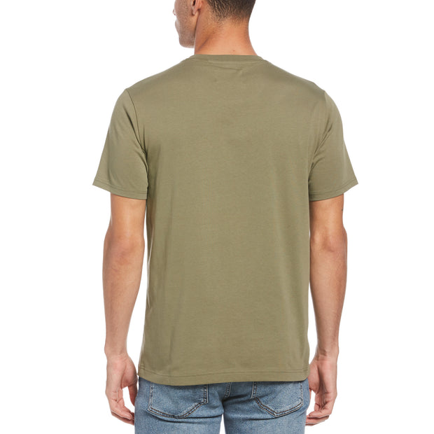Pin Point Embroidred Logo T-Shirt In Deep Lichen Green