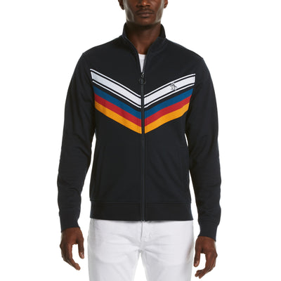 Chevron Stripe Track Jacket In Dark Sapphire