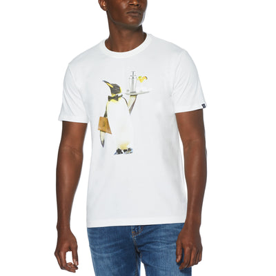 WAITER PENGUIN T-SHIRT IN BRIGHT WHITE
