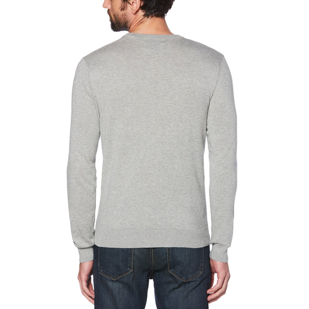 SUPIMA COTTON V-NECK SWEATER IN RAIN HEATHER