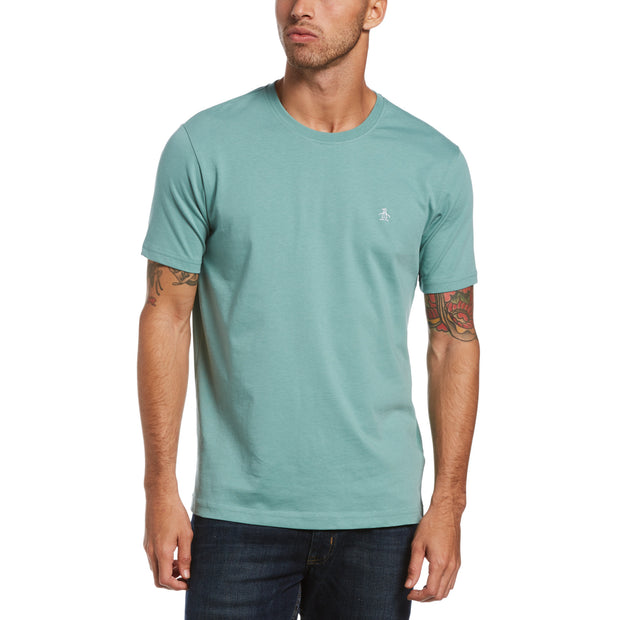 Pin Point Embroidery T-Shirt In Oil Blue