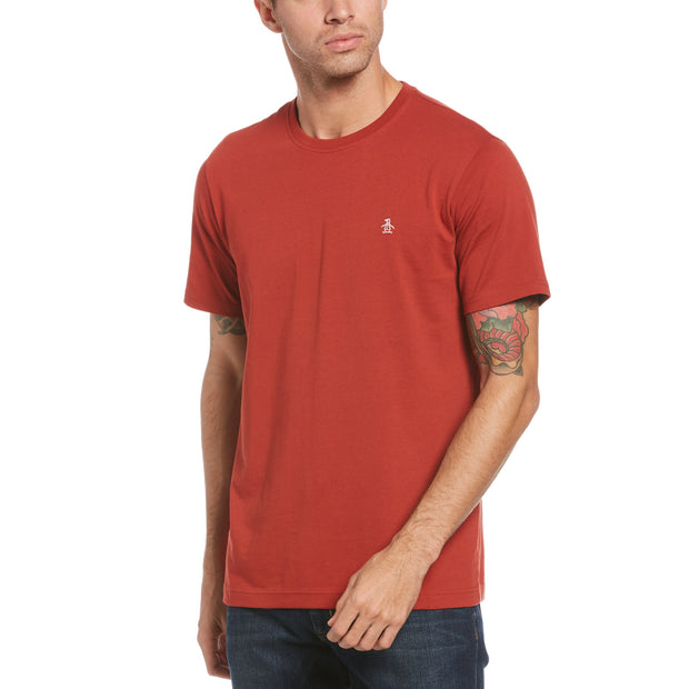 Pin Point Embroidred Logo T-Shirt In Red Ochre