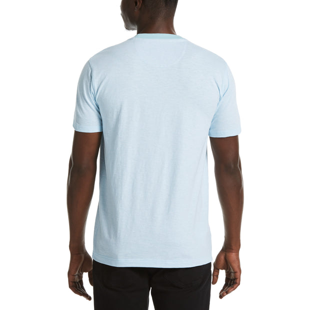 Slub Feeder Stripe Pocket Tee In Cool Blue