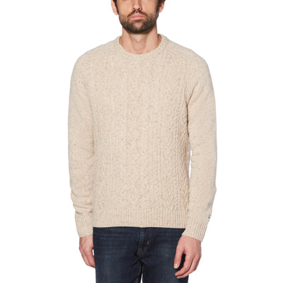 DONEGAL WOOL FISHERMAN CREWNECK SWEATER IN KELP