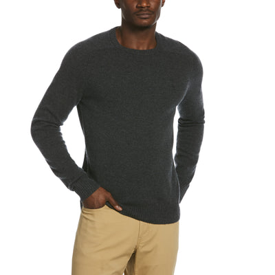 Lambswool Crew Neck Sweater In Dark Charcoal Heather