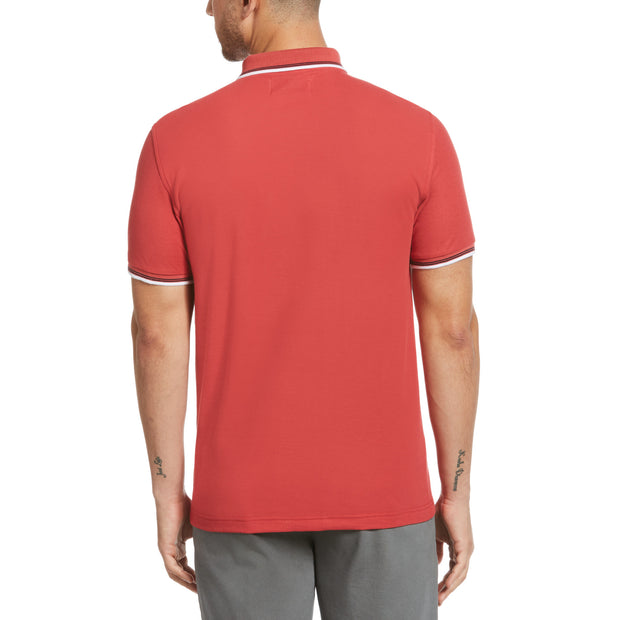 Tipped Pique Polo Shirt In Cardinal