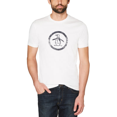 DISTRESSED CIRCLE LOGO T-SHIRT IN BRIGHT WHITE