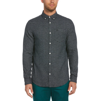 Jaspe Gingham Shirt In True Black