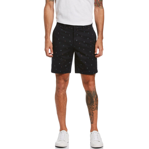 Palm Print Slim Fit Shorts In Dark Sapphire