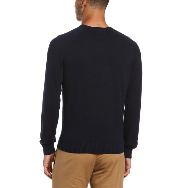 Ribbed Cuff Cotton Crew Neck Sweater In Dark Sapphire