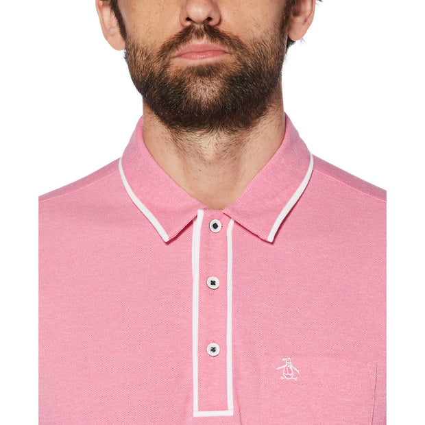 Oxford Texture Golf Polo Shirt In Very Berry