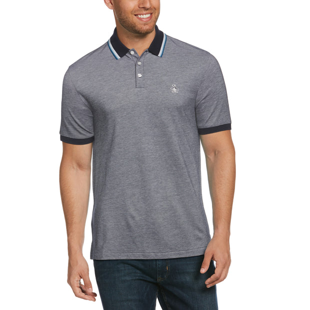 Tipped Birdseye Polo Shirt In Dark Sapphire