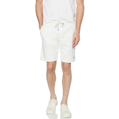 Sticker Pete Fleece Jogger Shorts In Light Grey Melange