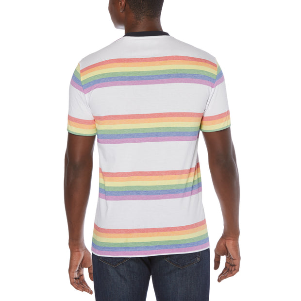 Pride Rainbow Stripe T-Shirt In Bright White