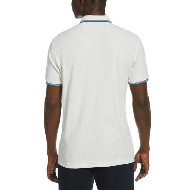 Tipped Pique Polo Shirt In Light Grey Melange