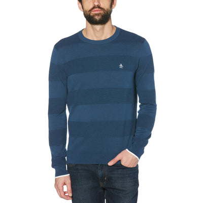 OTTOMAN STRIPE CREW NECK SWEATER IN SARGASSO SEA