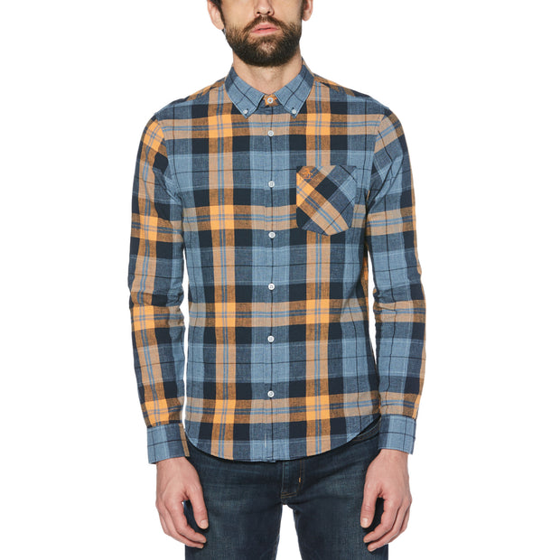 JASPE PLAID SHIRT IN SARGASSO SEA