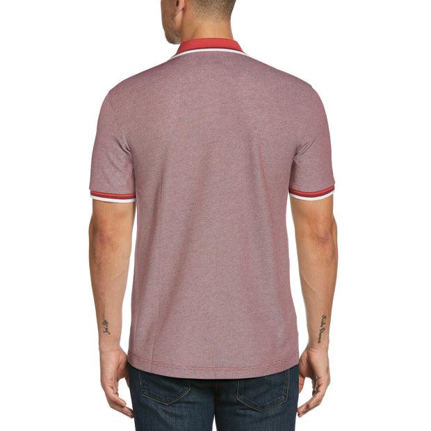 Tipped Jacquard Polo Shirt In Cardinal