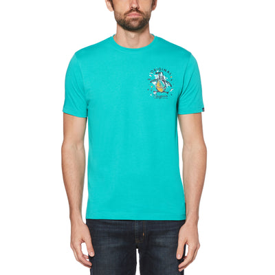 GRAPHIC PETE T-SHIRT IN BRIGHT AQUA
