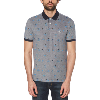 Palm Print Birdseye Polo Shirt In Dark Sapphire