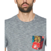 Hawaiian Floral Print Pocket T-Shirt In Dark Sapphire