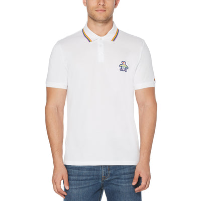 PRIDE TIPPED POLO SHIRT IN BRIGHT WHITE