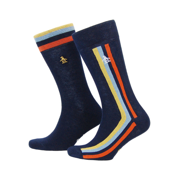 2 PACK PENGUIN STRIPE SOCKS IN DARK SAPPHIRE