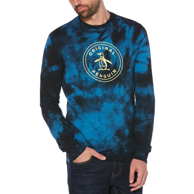 Tie Dye Stamp Logo Sweatshirt In Deep Water